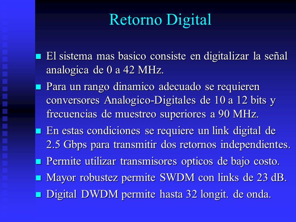Retorno Digital El sistema mas basico consiste en digitalizar la señal analogica de 0 a 42 MHz.