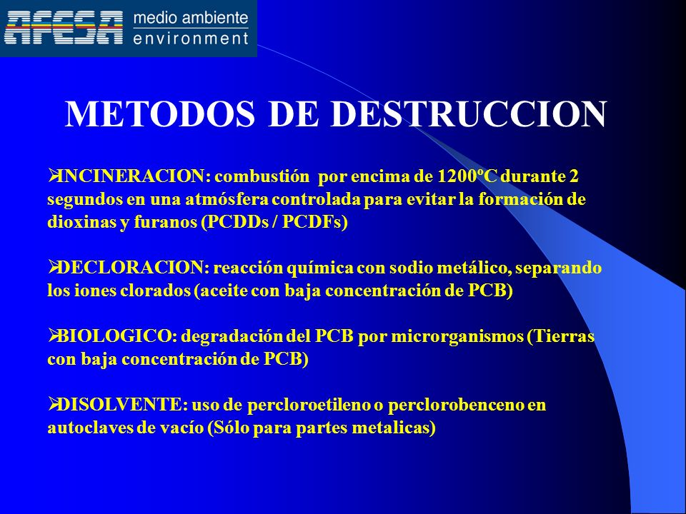 METODOS DE DESTRUCCION