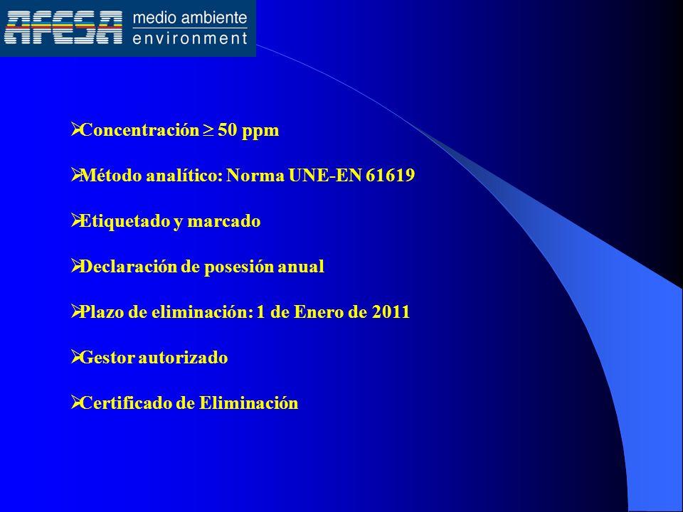 Concentración  50 ppm Método analítico: Norma UNE-EN 61619. Etiquetado y marcado. Declaración de posesión anual.