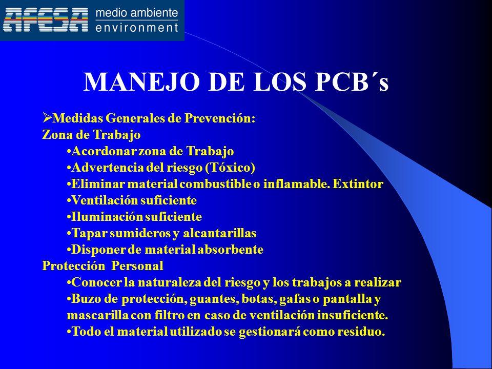 MANEJO DE LOS PCB´s Medidas Generales de Prevención: Zona de Trabajo