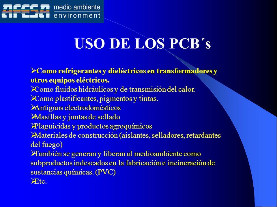 USO DE LOS PCB´s Como refrigerantes y dieléctricos en transformadores y otros equipos eléctricos.