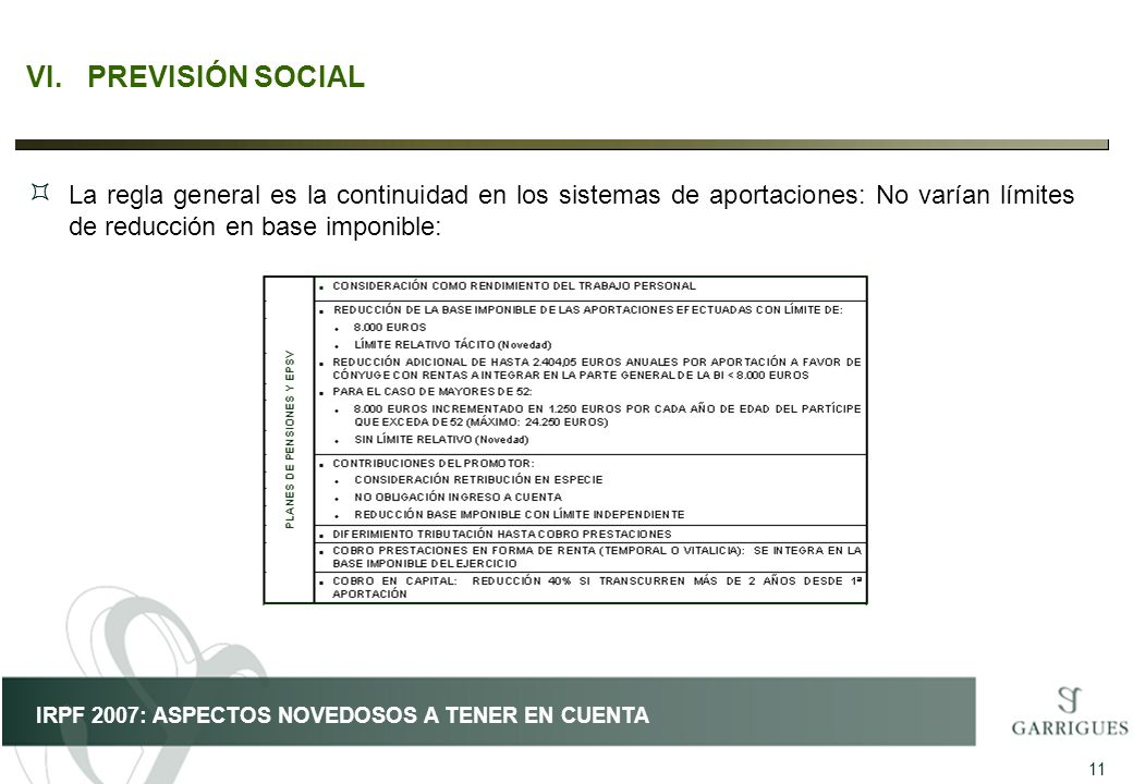 VI. PREVISIÓN SOCIAL La regla general es la continuidad en los sistemas de aportaciones: No varían límites de reducción en base imponible: