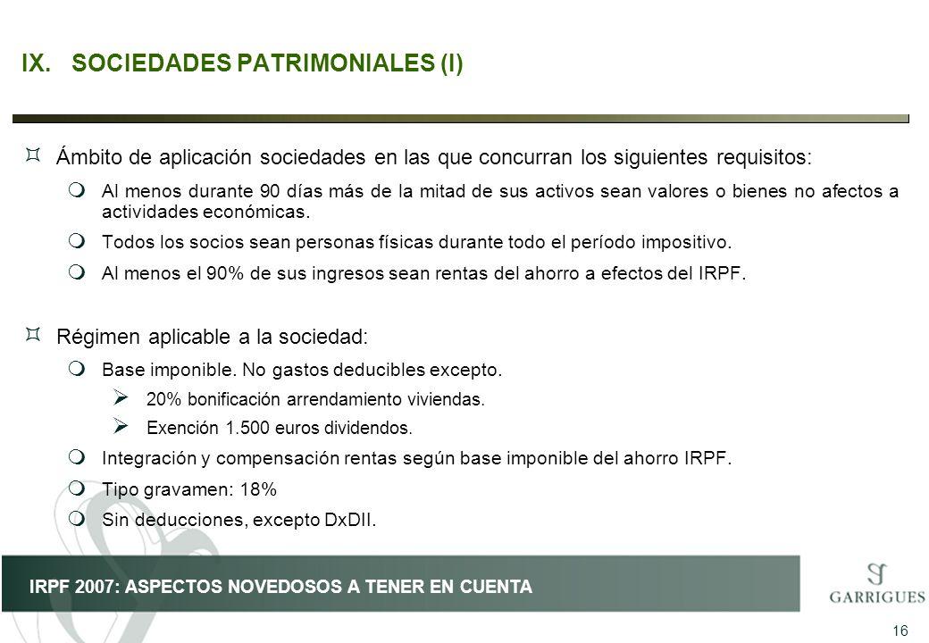 IX. SOCIEDADES PATRIMONIALES (I)