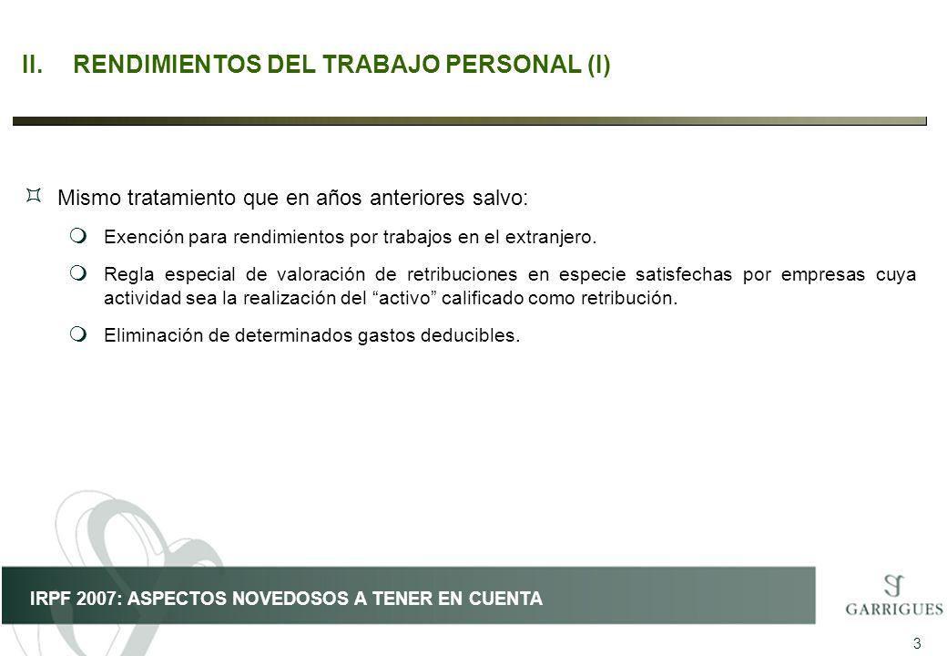 II. RENDIMIENTOS DEL TRABAJO PERSONAL (I)