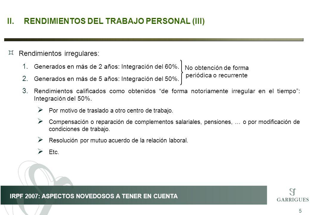 II. RENDIMIENTOS DEL TRABAJO PERSONAL (III)