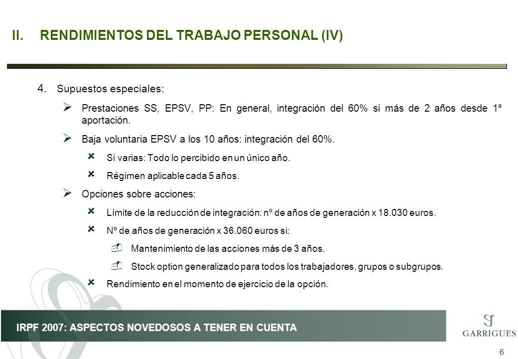 II. RENDIMIENTOS DEL TRABAJO PERSONAL (IV)