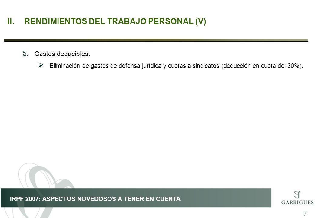 II. RENDIMIENTOS DEL TRABAJO PERSONAL (V)