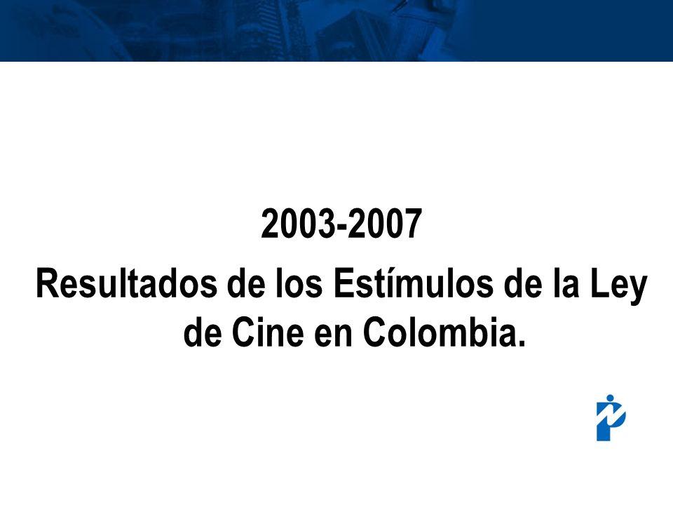 Resultados de los Estímulos de la Ley de Cine en Colombia.