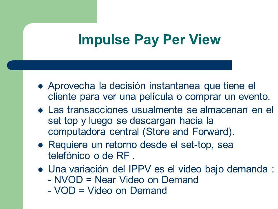 Impulse Pay Per View Aprovecha la decisión instantanea que tiene el cliente para ver una película o comprar un evento.