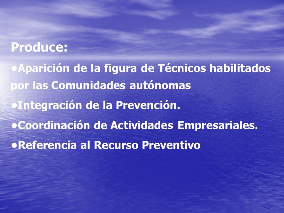 Produce: •Aparición de la figura de Técnicos habilitados por las Comunidades autónomas. •Integración de la Prevención.