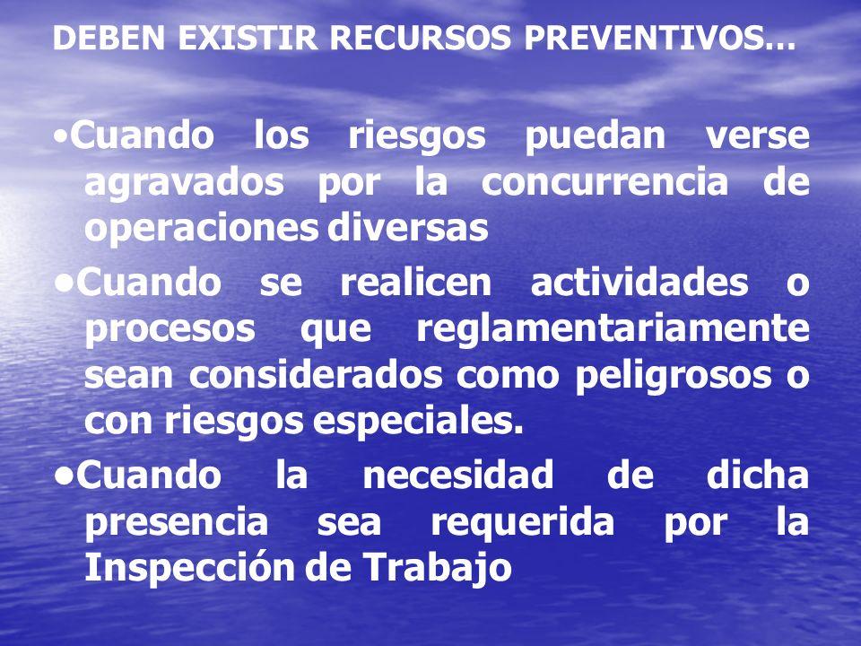 DEBEN EXISTIR RECURSOS PREVENTIVOS…