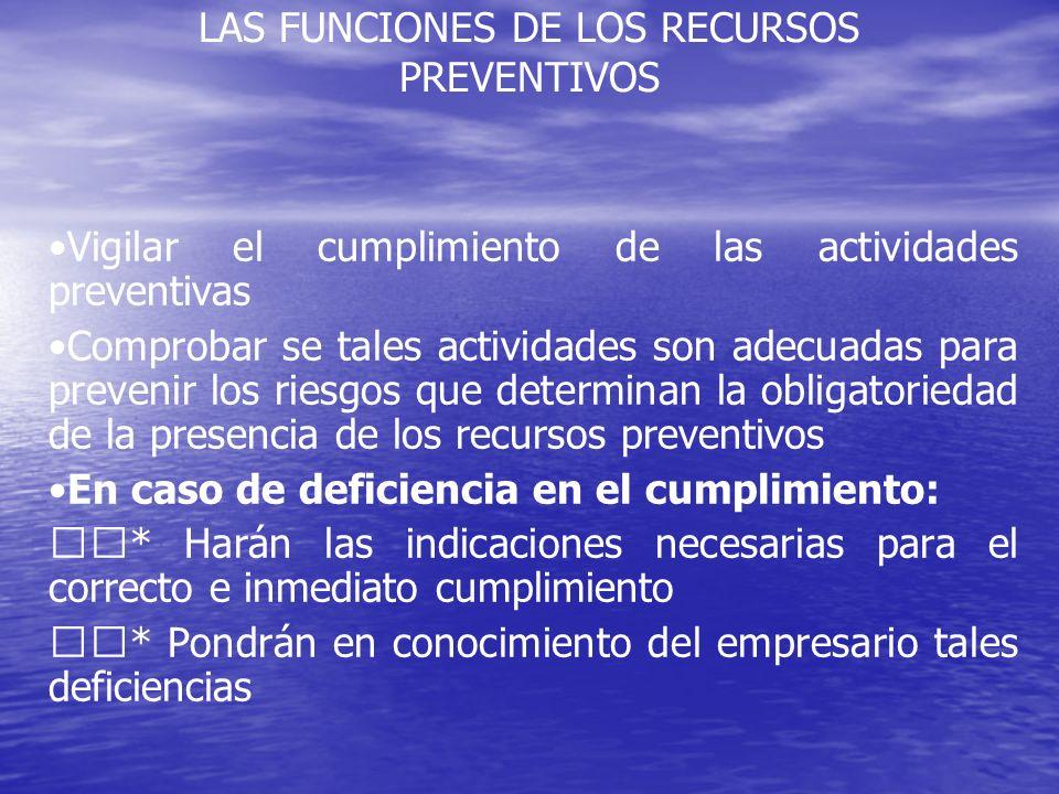 LAS FUNCIONES DE LOS RECURSOS PREVENTIVOS