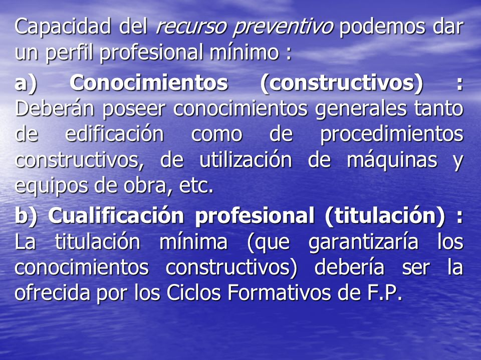Capacidad del recurso preventivo podemos dar un perfil profesional mínimo :