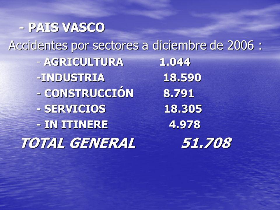 Accidentes por sectores a diciembre de 2006 :