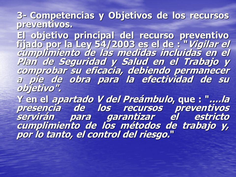 3- Competencias y Objetivos de los recursos preventivos.