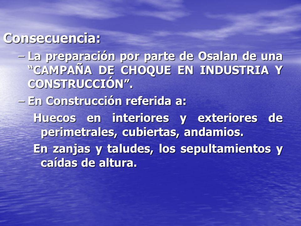 Consecuencia:La preparación por parte de Osalan de una CAMPAÑA DE CHOQUE EN INDUSTRIA Y CONSTRUCCIÓN .