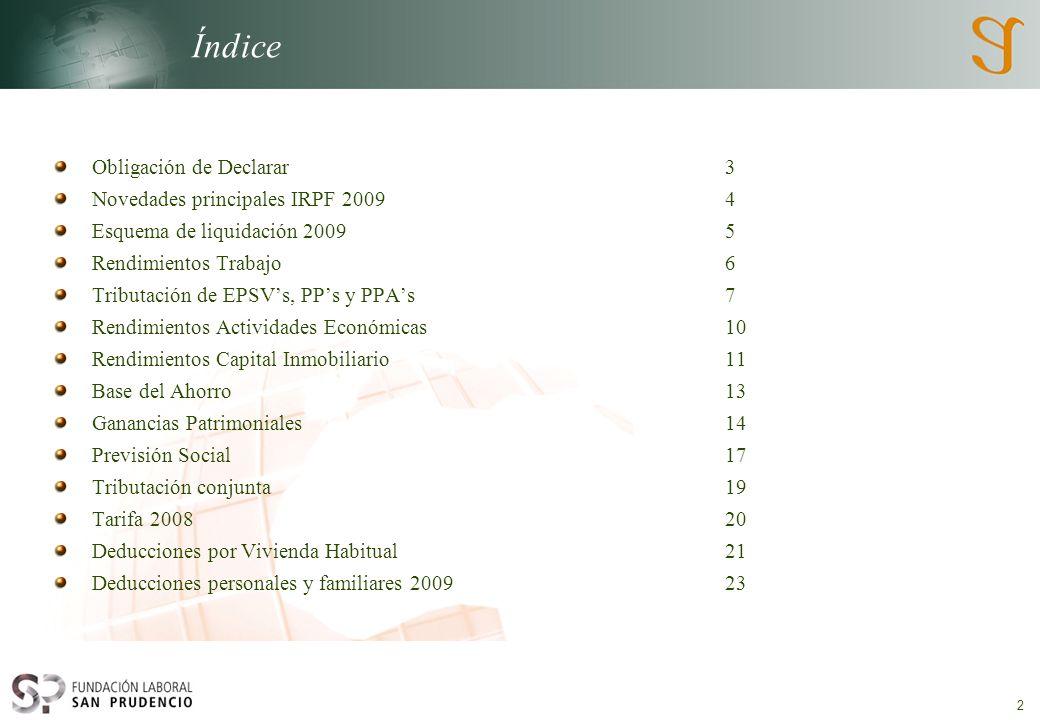 Índice Obligación de Declarar 3 Novedades principales IRPF 2009 4