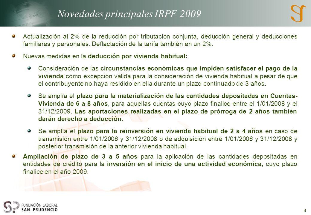Novedades principales IRPF 2009