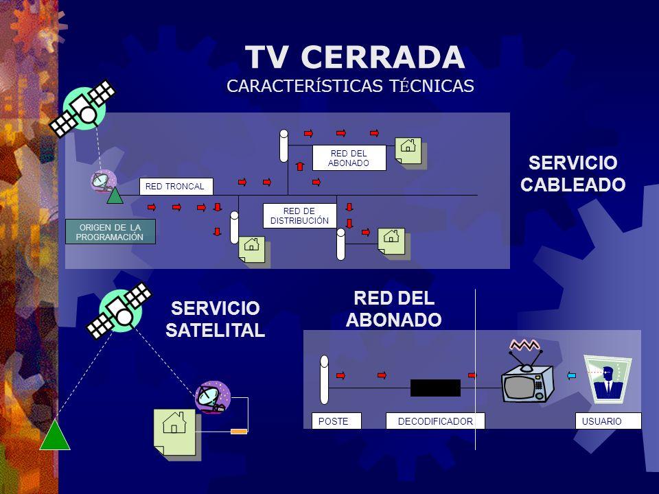 TV CERRADA SERVICIO CABLEADO RED DEL ABONADO SERVICIO SATELITAL