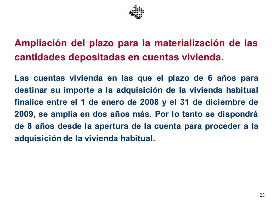 Ampliación del plazo para la materialización de las cantidades depositadas en cuentas vivienda.