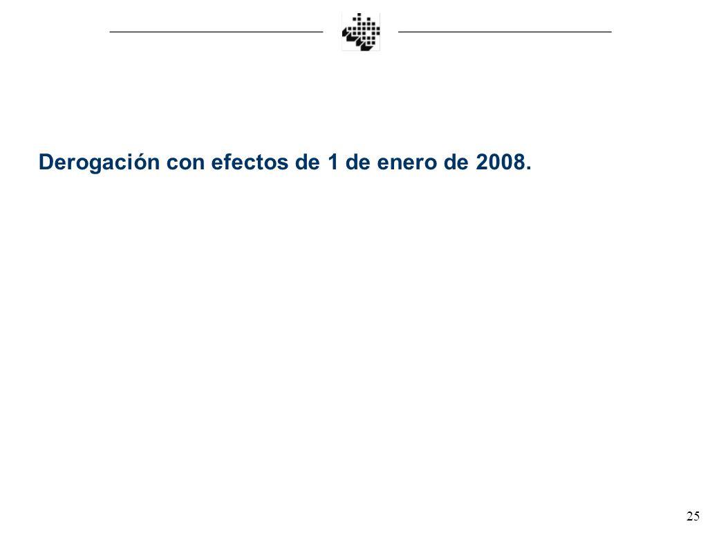 Derogación con efectos de 1 de enero de 2008.