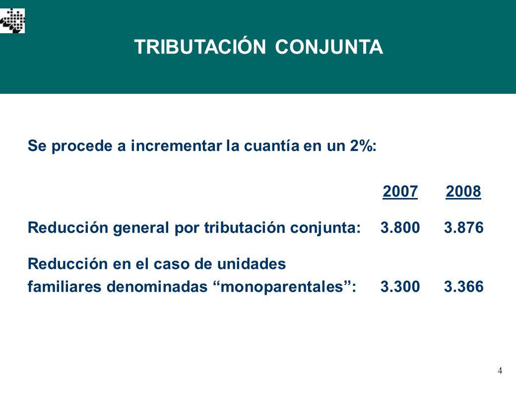 TRIBUTACIÓN CONJUNTA Se procede a incrementar la cuantía en un 2%:
