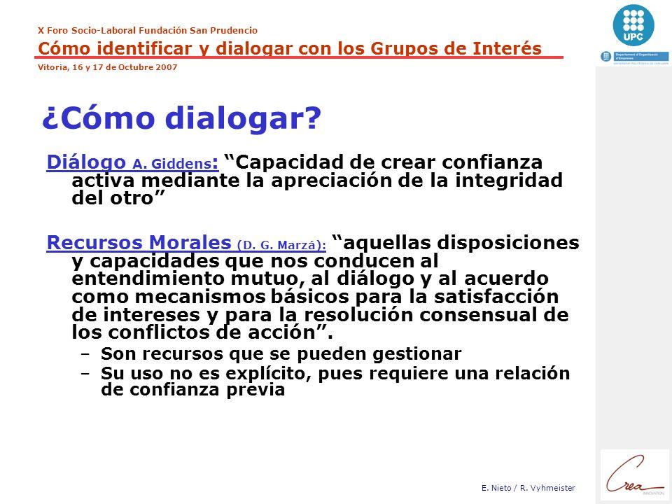 ¿Cómo dialogar Diálogo A. Giddens: Capacidad de crear confianza activa mediante la apreciación de la integridad del otro