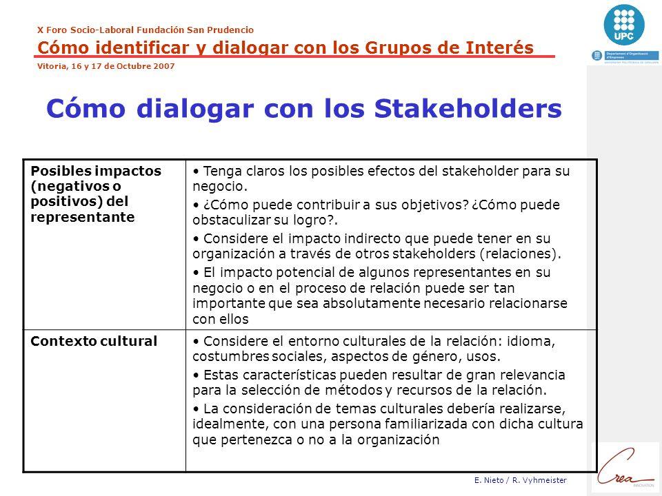Cómo dialogar con los Stakeholders