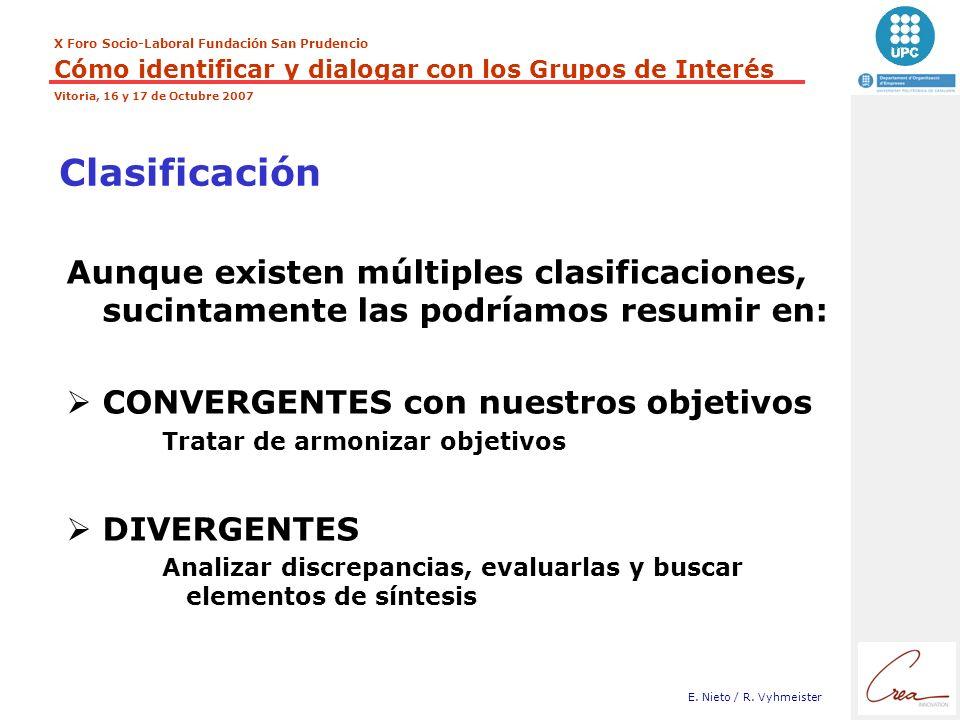Clasificación Aunque existen múltiples clasificaciones, sucintamente las podríamos resumir en: CONVERGENTES con nuestros objetivos.