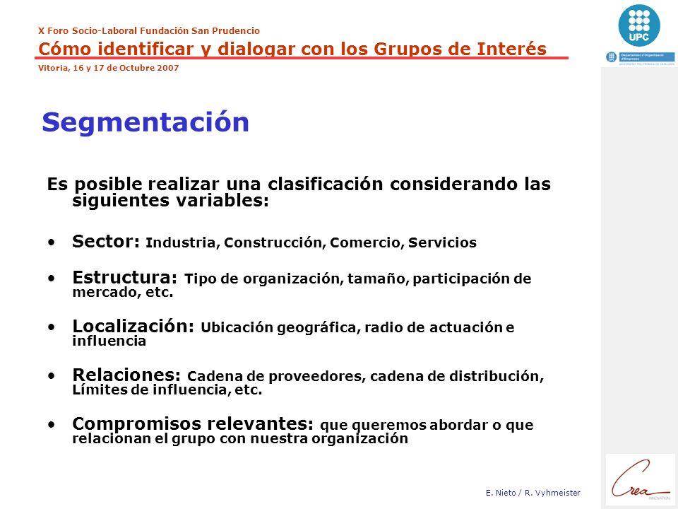 Segmentación Es posible realizar una clasificación considerando las siguientes variables: Sector: Industria, Construcción, Comercio, Servicios.