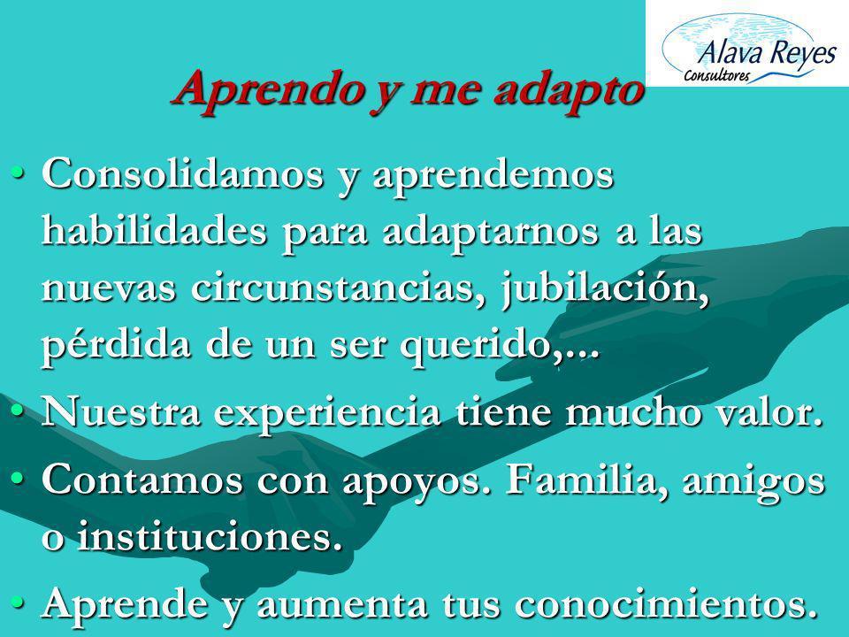 Aprendo y me adaptoConsolidamos y aprendemos habilidades para adaptarnos a las nuevas circunstancias, jubilación, pérdida de un ser querido,...