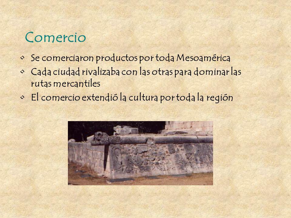 Comercio Se comerciaron productos por toda Mesoamérica