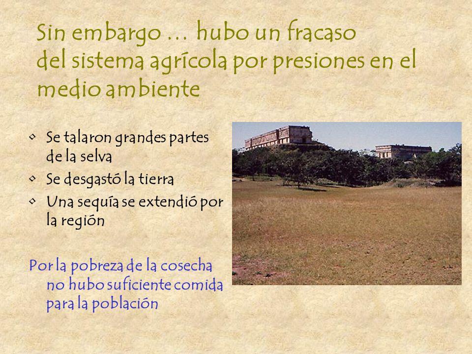 Sin embargo … hubo un fracaso del sistema agrícola por presiones en el medio ambiente