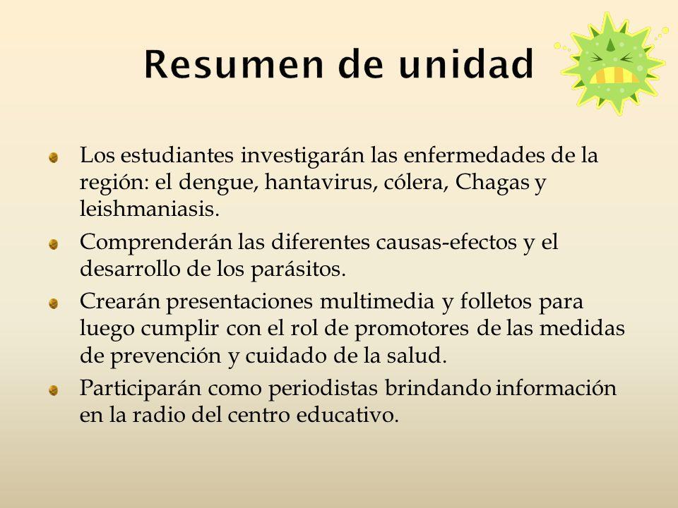 Resumen de unidadLos estudiantes investigarán las enfermedades de la región: el dengue, hantavirus, cólera, Chagas y leishmaniasis.