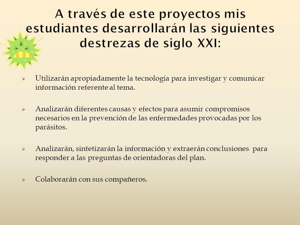 A través de este proyectos mis estudiantes desarrollarán las siguientes destrezas de siglo XXI: