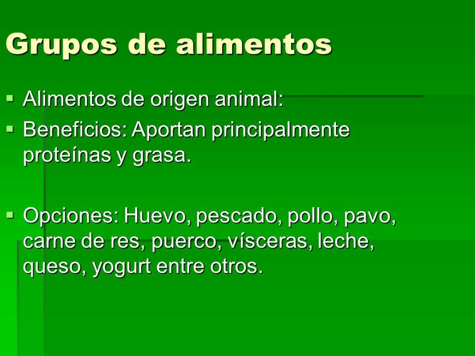 Grupos de alimentos Alimentos de origen animal: