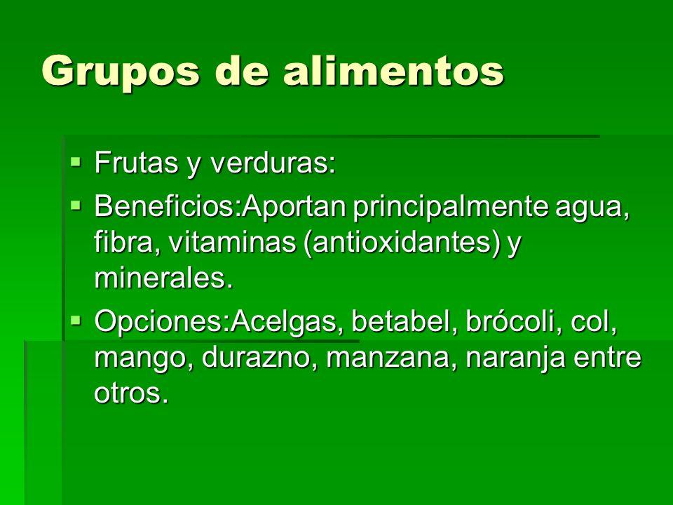 Grupos de alimentos Frutas y verduras: