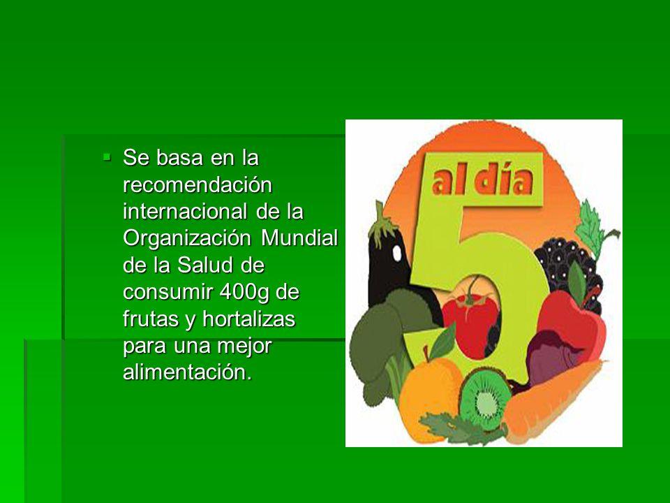 Se basa en la recomendación internacional de la Organización Mundial de la Salud de consumir 400g de frutas y hortalizas para una mejor alimentación.