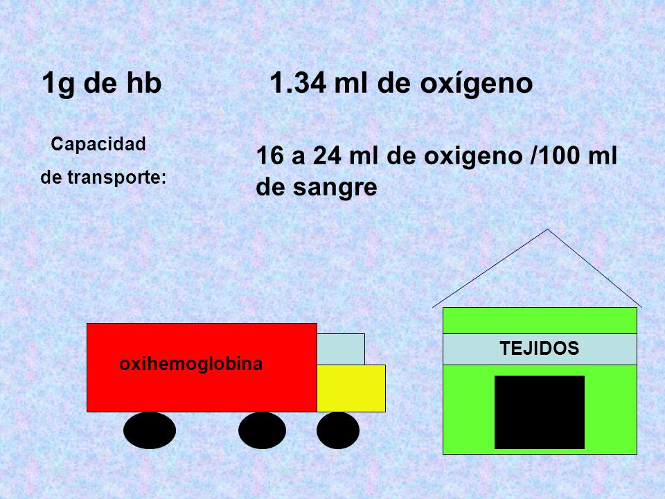 1g de hb 1.34 ml de oxígeno 16 a 24 ml de oxigeno /100 ml de sangre