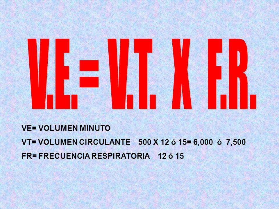 V.E.= V.T. X F.R. VE= VOLUMEN MINUTO