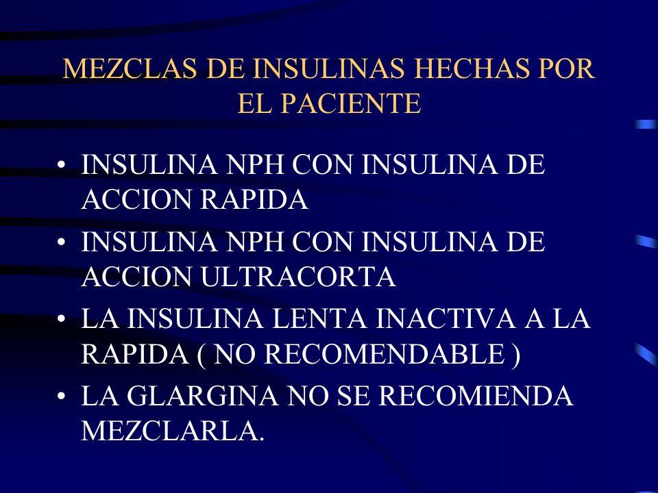 MEZCLAS DE INSULINAS HECHAS POR EL PACIENTE