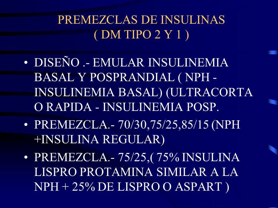 PREMEZCLAS DE INSULINAS ( DM TIPO 2 Y 1 )