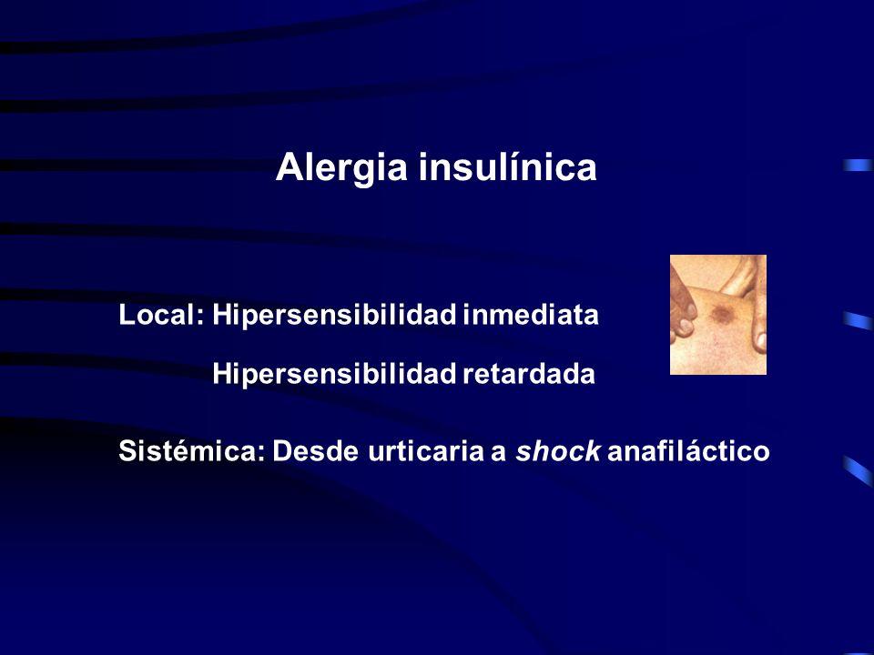 Alergia insulínica Local: Hipersensibilidad inmediata Hipersensibilidad retardada. Sistémica: Desde urticaria a shock anafiláctico.