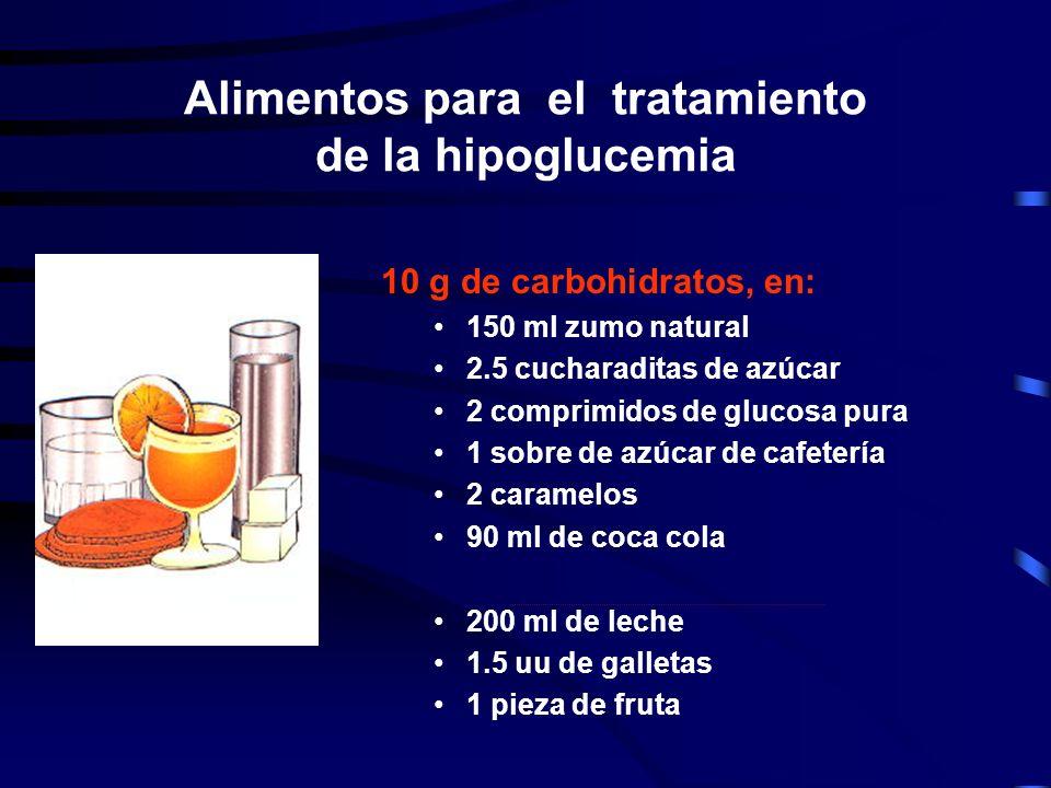 Alimentos para el tratamiento de la hipoglucemia