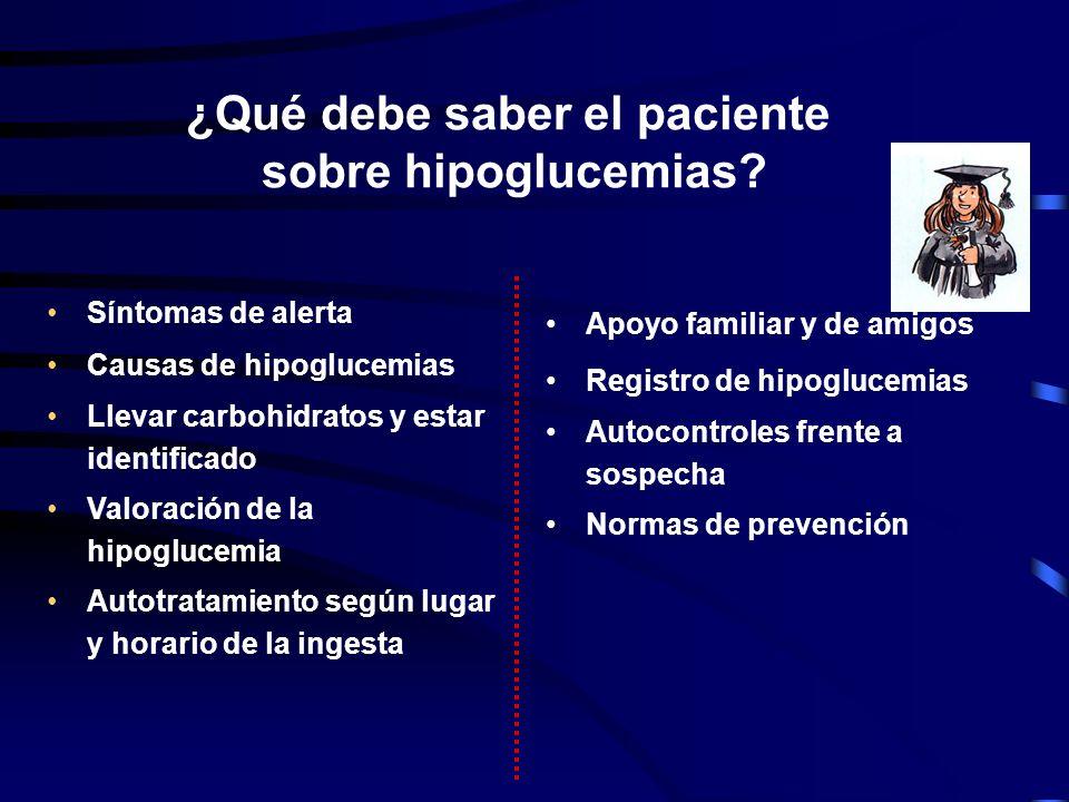 ¿Qué debe saber el paciente sobre hipoglucemias