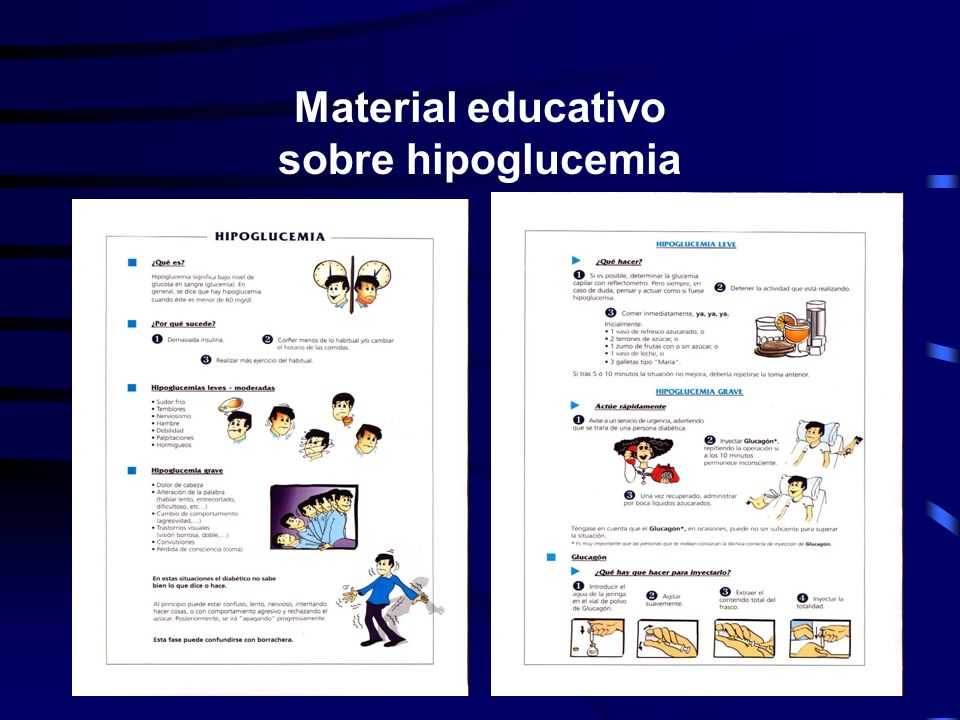 Material educativo sobre hipoglucemia