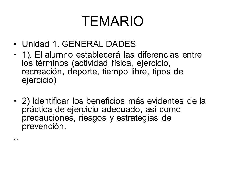 TEMARIO Unidad 1. GENERALIDADES
