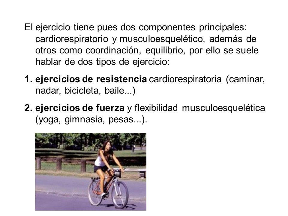 El ejercicio tiene pues dos componentes principales: cardiorespiratorio y musculoesquelético, además de otros como coordinación, equilibrio, por ello se suele hablar de dos tipos de ejercicio: