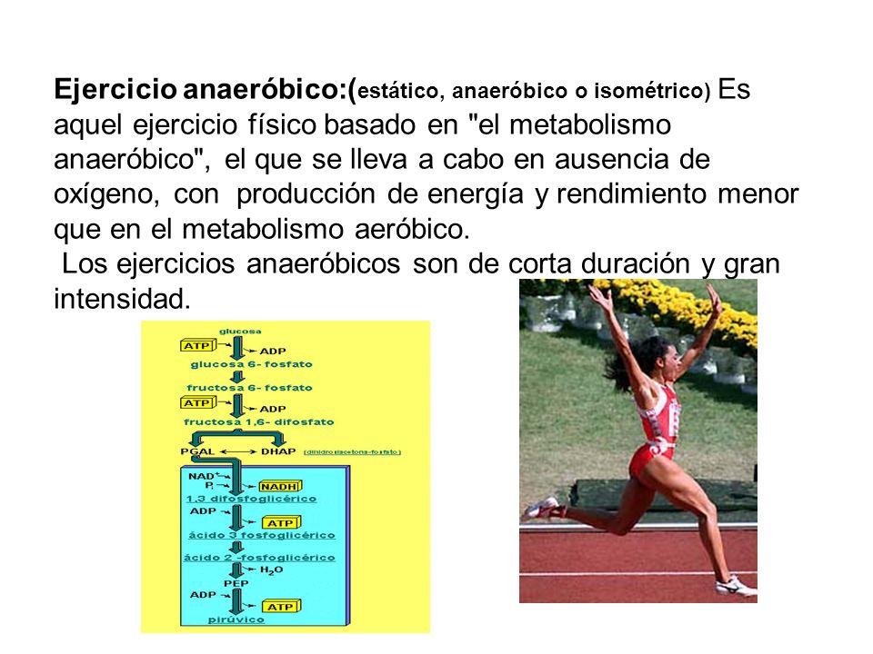 Ejercicio anaeróbico:(estático, anaeróbico o isométrico) Es aquel ejercicio físico basado en el metabolismo anaeróbico , el que se lleva a cabo en ausencia de oxígeno, con producción de energía y rendimiento menor que en el metabolismo aeróbico.