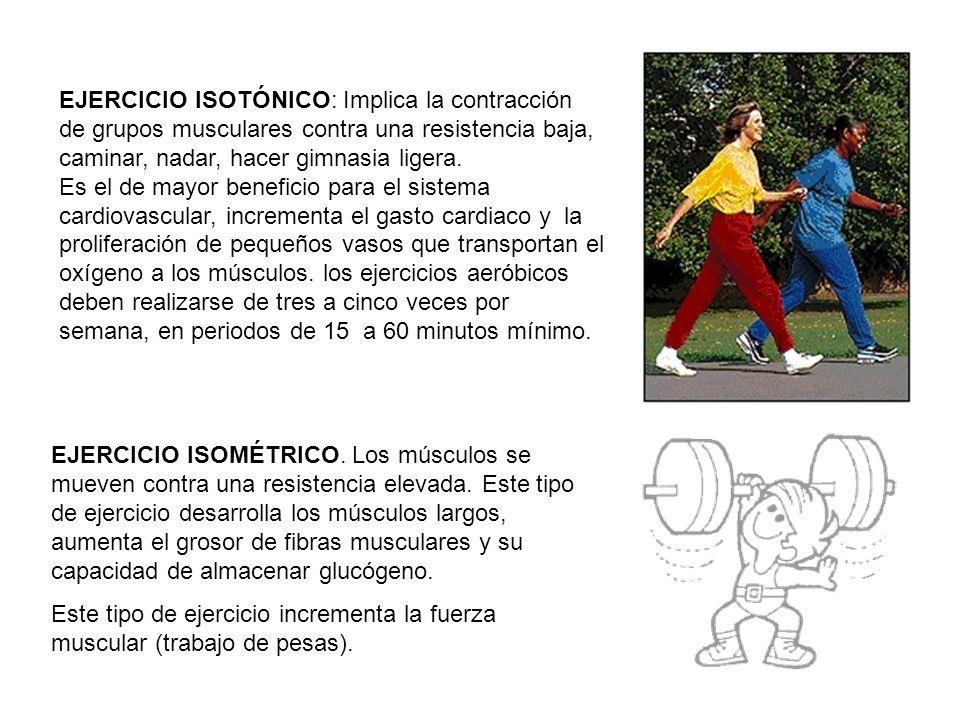 EJERCICIO ISOTÓNICO: Implica la contracción de grupos musculares contra una resistencia baja, caminar, nadar, hacer gimnasia ligera.